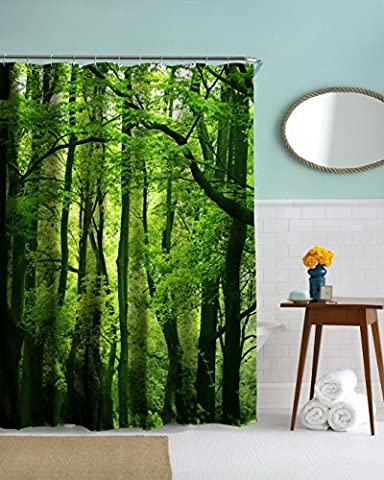 A.Monamour Nature Scenery Green Trees Forest Picture Print Textile Shower Curtain for Bathroom Accessory Waterproof Tablecloth 180x200 cm / 72