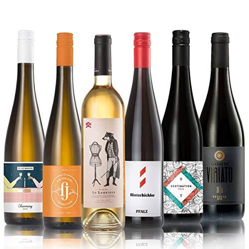 GEILE WEINE Weinpaket AUFWÄRMER | (6 x 0,75l) Probierpaket mit Rotwein und Weißwein von Winzern aus Deutschland, Portugal und Frankreich