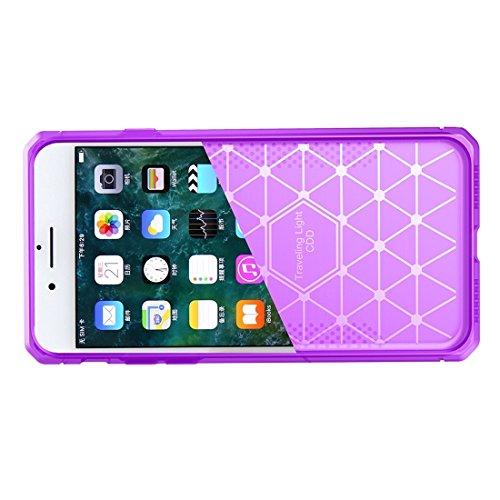 BING Für iPhone 6 / 6s, gebürsteter Carbon-Faser-Beschaffenheit Shockproof TPU schützender Abdeckungs-Fall BING ( Color : Red ) Purple