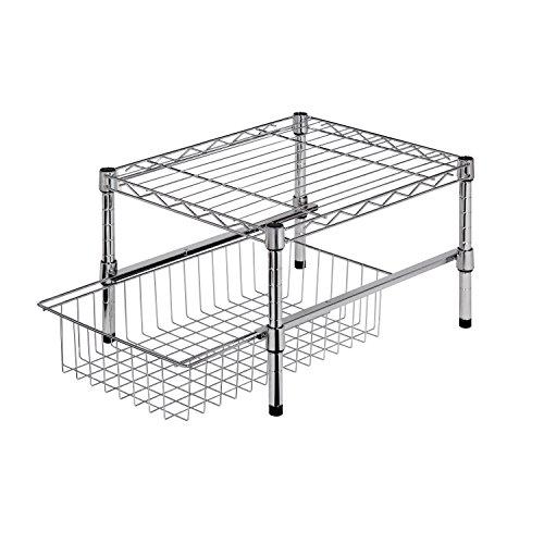 honey-can-do-shf-01867-etagere-reglable-avec-organisateur-de-placard-acier-inoxydable-argent-375-x-4