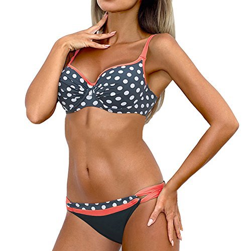 iBaste Damen Sexy modern Polka-Punkt Stoffdruck passend farbige Badeanzug Bikini-Sets