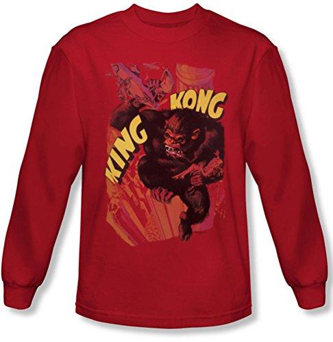 King Kong-Piano d'appoggio da uomo, maglietta a manica lunga, colore: rosso