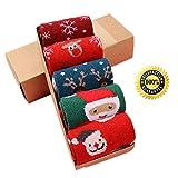 Morbuy Socken Set Damen, Mid Tube Socken Baumwollmischung Winter Elch Schneemann Warme Dick Geschenkbox (5 x Set) (5 Paare (inklusive Geschenkbox))