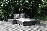 MEINiShop Loungegruppe, Alcudia, grau / braun meliert, 120 x 80 x 190 cm, GL00XL