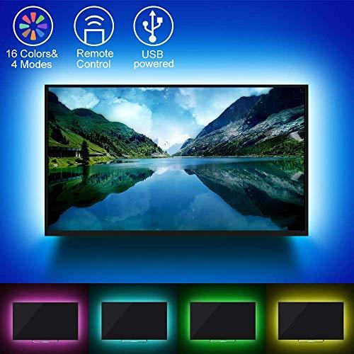 LED TV Hintergrundbeleuchtung, Etmury LED Fernseher Beleuchtung USB RGB 2M,LED Stripes Streifen LED Band mit 24 keys Fernsteuerungs für 40 bis 60 Zoll HDTV,TV-Bildschirm und PC-Monitor -