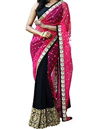 Kaavi Fab Georgette Black And Pink Thread Work Designer Saree