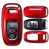 mt-key Auto Schlüssel Cover Hülle Audi A5 S5 Q5 A7 A8 A6 S6 A4 S4 Smartkey/Farbe: Metallic Rot