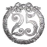 Kunze A014026252 Jubiläumszahl 25, Ø 24 cm, Silber