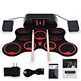 WMING Electronic Drum Kit, 10 Pads Roll up Electric Drum Pads Kit Electric Drum Set, Portable Practice Drum Kit in Double Stereo Speaker gebaut
