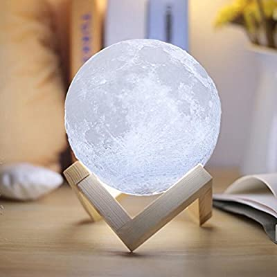 Full Moon Lamp 3D LED Night Modern Floor Lamp Dimmable Touch Control Brigntness USB Charging White/Warm Light luna moon lamp With Stand 8cm by Dealbay