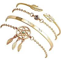 Shining Diva Fashion Set Of 4 Stylish Multilayer Crystal Bangle Charm Bracelet for Women (Golden) (rrsd10711b)