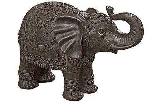 Figura Decorativa Elefante Oriental Indú Marrón de Resina A30 L45 cm