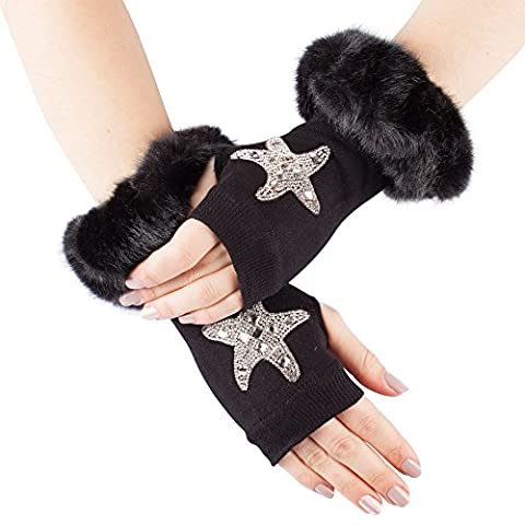 GLV134-Black Fingerless Stretch Knit Gloves with Faux Fur Trim and Diamante Starfish Design