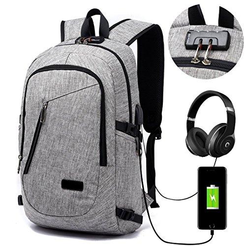 Lmeison Laptop-Rucksack mit USB-Ladeanschluss und Anti-Diebstahl Lock,12-16 Zoll Laptoptasche,Wasserdichte Schulrucksack Unisex Daypack – Grau (Reißverschluss-tasche 3-fach)