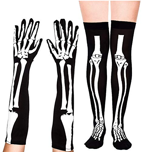 (DANSPEED Unisex Skeleton Knochen Halloweenkostüm Lange Handschuhe Strümpfe Cosplay Party Verrücktes Kleid Kniestrümpfe)