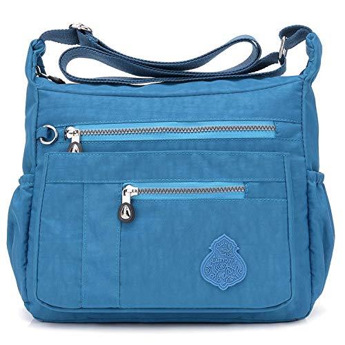 Nuova moda impermeabile sacchetto di nylon luce di grande capacità Mummia borsa tendenza signore spalla tracolla mare blu