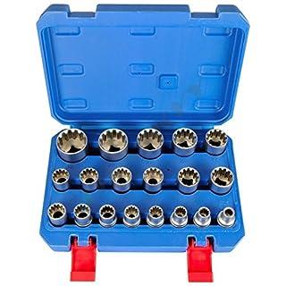 Gear Lock Steckschlüssel Vielzahn Torx Zoll Werkzeug 19 tlg Außen Innen Nüsse//Gearlock Steckschlüssel Satz