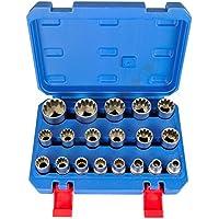 Gear Lock Llave de tubo multidientes torx herramienta de Pulgadas 19 piezas Exterior Interior Vasos gearlock Juego de llaves de zócalo