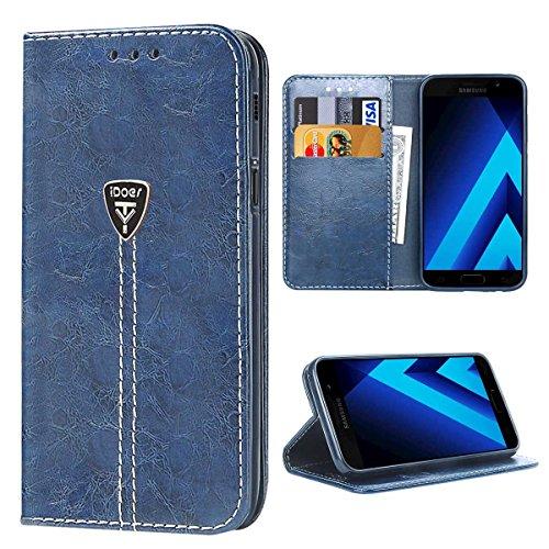 Galaxy A5 2017 Hülle, iDoer Schutzhülle A5 (2017 Edition) tasche Leder Flip Case bookstyle Etui handyhuelle Cover für Samsung Galaxy A5 2017 - Blau A517 Case Cover