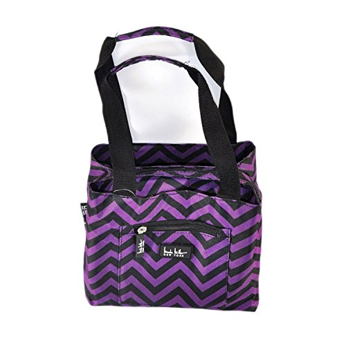 nicole-miller-new-york-insulated-cooler-lunch-tote-purple-black-chevron