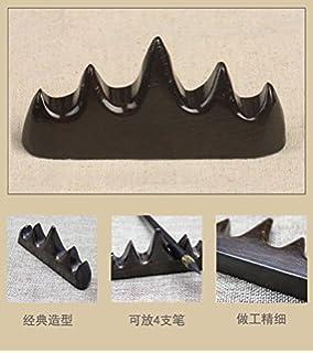 Natural Wood Brush Penholder Arc Brush Rack with Chinese Painting Brush Pen