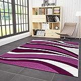 VIMODA Wohnzimmer Teppich Kurzflor Modern Wellen Muster Lila Pink, Maße:80 x 150 cm