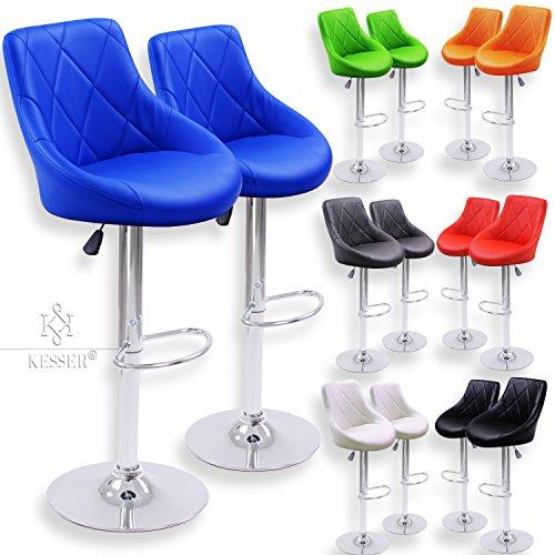 Kesser® 2er Set Barhocker Barstuhl Tresenhocker Küchenhocker Loungesessel Esszimmerstuhl ✓ Höhenverstellbar ✓ 360° drehbar ✓ mit Lehne | Gepolsterte Sitzfläche | mit Fußablage | Farbe: Blau