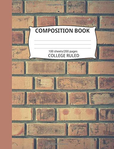 Composition Book: Brick Wall Pattern 6: Blank College Ruled Notebook - Rack Wall Blue Hat