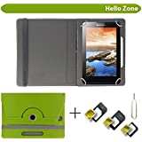 """Hello Zone With Free Sim Adapter Kit I KALL N1 Dual Sim 3G Calling Tablet 360° Rotating 7"""" Inch Flip Case Cover Book Cover -Green"""
