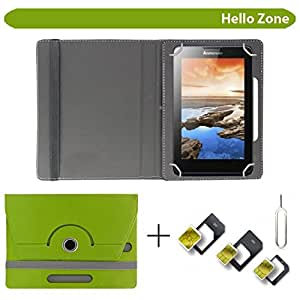 """Hello Zone With Free Sim Adapter Kit Champion Wtab 7.2 360° Rotating 7"""" Inch Flip Case Cover Book Cover -Green"""