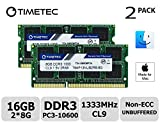 Timetec Hynix IC Apple 16GB Kit (2x8GB) DDR3 1333MHz PC3-10600 SODIMM Memory Upgrade For MacBook Pro 13/15/17 inch Early/Late 2011,iMac 21.5-inch Mid/Late 2010/2011,27-inch Mid 2010/2011,Mac mini 5,1 & 5,2 Mid 2011 (16GB Kit (2x8GB))