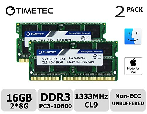 Timetec Hynix IC compatible with Apple16GB Kit (2x8GB) DDR3 1333MHz PC3-10600 SODIMM Memory Upgrade For MacBook Pro, iMac, Mac mini 16GB Kit (2x8GB) - Acer-ddr-speicher