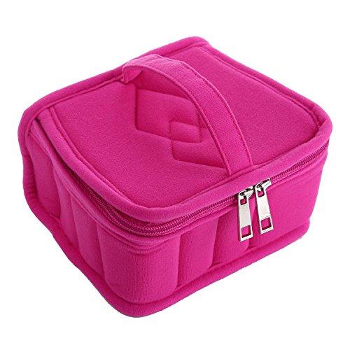 niceEshop(TM) Sac de Stockage et Sac de Rangement Portable avec 13 Compartiments pour Bouteilles D'Huile Essentielle (Rose Rouge)