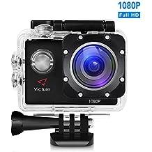 Victure Caméra Action 12MP Full HD 1080P, Caméscope Plongée Sous-Marine 30M, Action Cam avec Grand Angle 170°, Batterie Rechargable 1050mAh, Boîtier Étanche et Kit d'accessoires