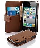 Cadorabo Étui de protection en cuir synthétique pour Apple iPhone 4/4S Marron cacao Avec compartiment pour cartes en cuir synthétique lisse