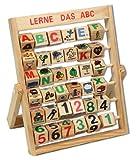 Lernspiel ABC Zahlenlernspiel Holzspielzeug Alphabet Schiebeklötzer Schieber