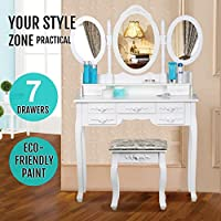 Yaheetech Dressing Table with 3 Oval Mirror and Stool Bedroom Sets 7 Storage Drawers Make Up Table (White)