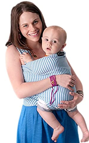 LIFETIME GUARANTEE 4-in-1 CuddleBug Baby Wrap Carrier | Soft Baby Carrier | Baby Sling Carrier | Postpartum Belt | Nursing Cover | Best Baby Shower Gift (Blue Stripes)