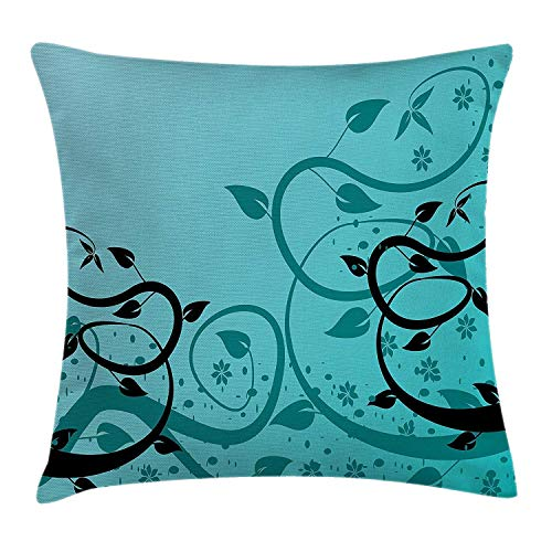 Jxrodekz Teal Dekokissen Kissenbezug, an Abstract Floral Modern Illustration with Winding Tendrils Leaves Vines and FlowersBlack Teal -