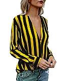 Boutiquefeel Damen Stripes Tief V Ausschnitt Langarm Casual Bluse Oberteile Gelb L