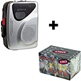 BUNDLE: Tape Walkman Cassette Player / Recorder with Radio and Built in Speaker