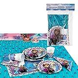 Disney - Pack de fiesta reciclable Frozen: mantel, platos, vasos,