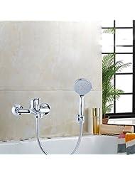 DuZiShi-slt Grifo de la ducha, todo el cobre, agua caliente y fría, grifo de la bañera