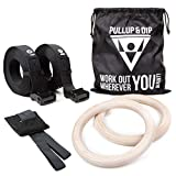 PULLUP & DIP Turnringe Holz Gym Rings Premium Gymnastikringe Gym Ringe Turnerringe für Crossfit & Calisthenics | breite Befestigungsgurte mit Markierungen + Türanker + Tasche + Trainingsguide