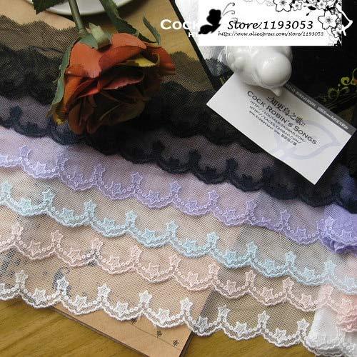 ASTONISH 5 Yard/porción negro rosa azul de la tela de encaje decoración de la estrella de algodón bordado de gasa velo zapatos de vestir el ajuste blanco accesorio: rosa claro