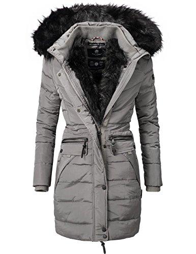 Navahoo Damen Winter Mantel Steppmantel Paula (vegan hergestellt) Grau Gr. XS