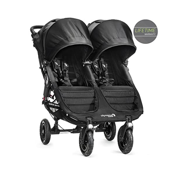 Baby Jogger City Mini GT Double Stroller Black  Taking a little detour is fun, the City Mini GT Double offers all-terrain wheels that let you make your own rules; the all-terrain wheels and front wheel suspension work in unison to give you full control on where and how you go while keeping your little one comfortable Lift the straps and the City Mini GT Double folds itself: Simply and compactly, it really is as easy as it sounds; the auto-lock will lock the pushchair for transportation or storage An adjustable handlebar can accommodate different heights and a hand-operated parking brake keeps all the controls within reach 1