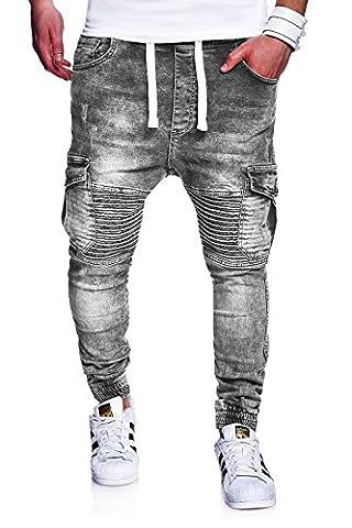 MT Styles Biker Jogging-Jeans pantalon homme RJ-2271 [gris,