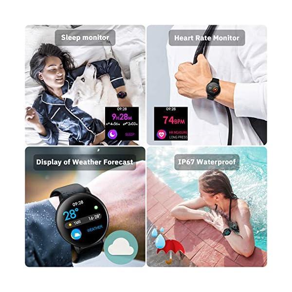 CatShin Smart Watch Activity Tracker con monitor de frecuencia cardíaca - CS06 IP68 Impermeable Multifunción Ronda Fitness Bluetooth Reloj deportivo para hombres y mujeres,compatible con iOS y Android 4
