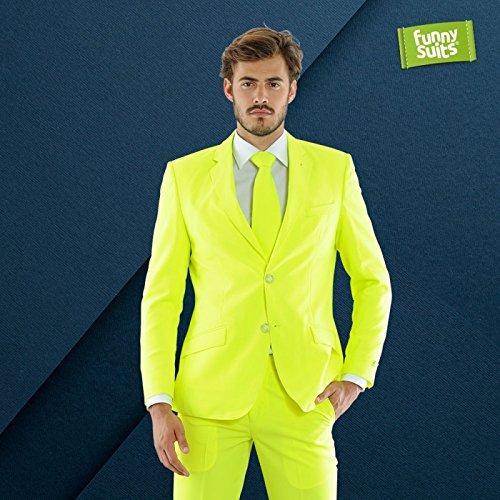 Funnysuits Neon Icon 80er Anzug Neongelb 3-Teiliges Kostüm Deluxe EU Size ()
